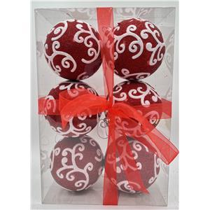 Juego de 6 esferas rojas con guías blancas de 10cm