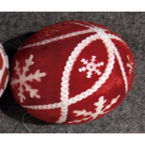 Juego de 6 esferas rojas con copos de nieve blancos de 10cm