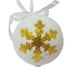 Juego de 6 esferas blancas con copos dorados de 10cm