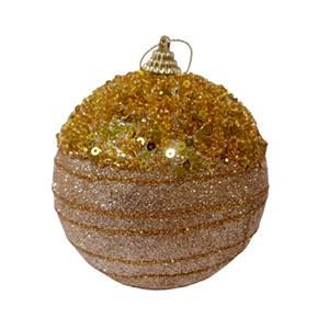 Juego de 6 esferas doradas con diamantina de 10cm