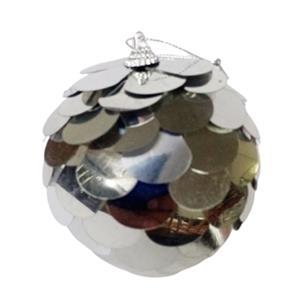Juego de 6 esferas con lentejuelas plata de 10cm