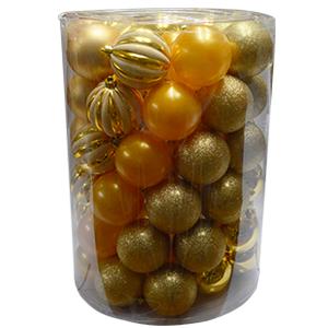 Display con 60 esferas color dorado de 8cm