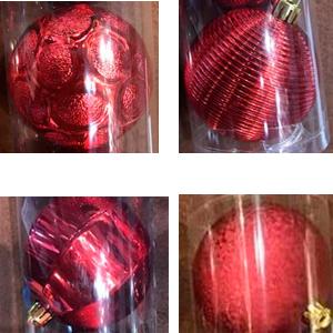 Tubo con 4 diferentes esferas rojas de 8cm
