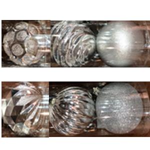 Tubo con 6 diferentes esferas plata de 6cm
