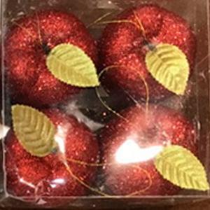Juego de 4 esferas en forma de manzanas rojas con gliters de 7cm