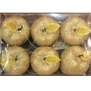 Juego de 6 esferas en forma de manzanas doradas con gliters de 6cm