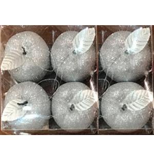 Juego de 6 esferas en forma de manzanas plateadas con gliters de 6cm
