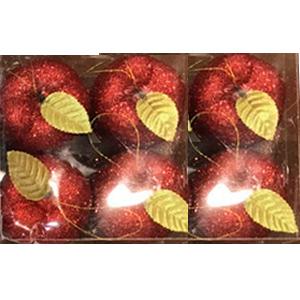 Juego de 6 esferas en forma de manzanas rojas con gliters de 6cm