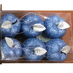 Juego de 6 esferas en forma de manzanas azules con gliters de 6cm