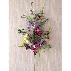 Vara con follaje verde y mariposas de colores de 72x32x42cm