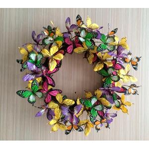 Corona de mariposas de colores de 64x38x38cm