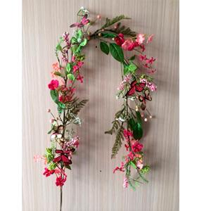 Guía con follaje verde flores y mariposas rosas de 32x1.50m