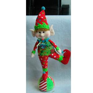 Elfo de tela navideño con traje rojo de 56cm