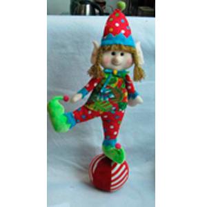 Elfa de tela navideño con traje rojo de 56cm