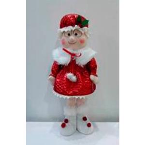 Señora Claus de tela con traje rojo de 56cm