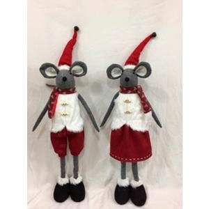 Ratón con traje navideño rojo de 90cm