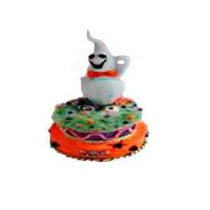 Figura de fantasma sobre pasteln con luz (usa baterias AA) de 25x25x50cm