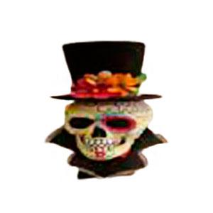 Figura de Cráneo con sombrero negro de 17x18x46cm