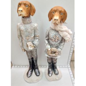 Perro con traje beig con regalo de 19x17x58cm