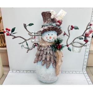Muñeco de nieve con candelabros de 45x16x40cm