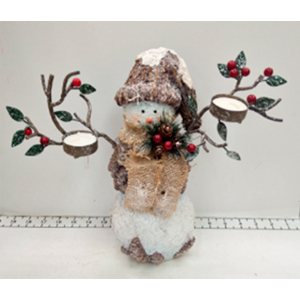 Muñeco de nieve con candelabros de 28x13x27cm