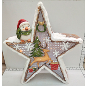 Estrella navideña con luz led usa AA de 38x42x9cm