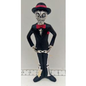 Esqueleto con traje negro de 6x6x22cm