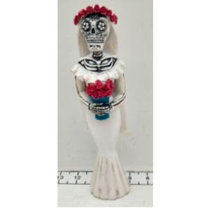 Esqueleto con traje de novia de 8x5x22cm