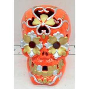 Cráneo naranja con luz led de 8x9x9.5cm