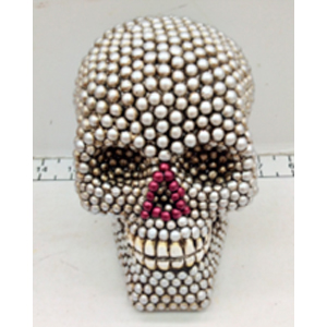Cráneo con perlas de 16x14x18cm