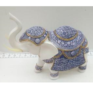 Elefante blanco con montura azul de 27x11x25cm