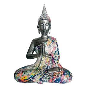 Buda plateado con traje de colores de 28x17x38cm