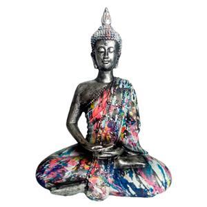 Buda plateado con traje de colores de 14x9x19cm