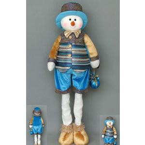 Muñeco de nieve de altura ajustable con traje azul con dorado de  53x28x13cm
