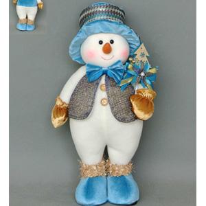 Muñeco de nieve con chaleco gris de 25x20x8cm