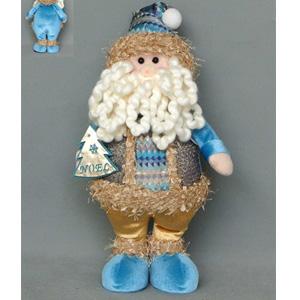 Santa contraje azul y dorado de 36x18x8cm
