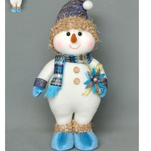 Muñeco de nieve con chaleco azul de 46x46x8cm