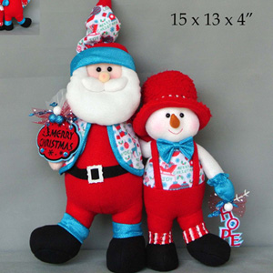 Santa y muñeco de nieve abrazados con traje rojo de  53x20x15cm