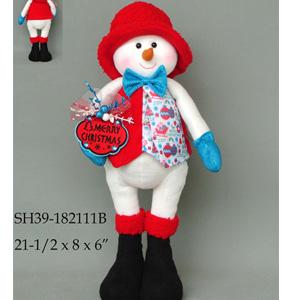 Muñeco de nieve con traje rojo de  46x20x10cm