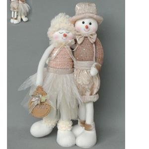 Muñecos de nieve abrazados beige de  61x18x10cm