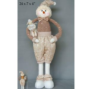 Muñeco de nieve con pantalon beige de 61x18x10cm