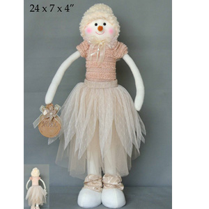 Muñeco de nieve con vestido beige de 61x18x10cm