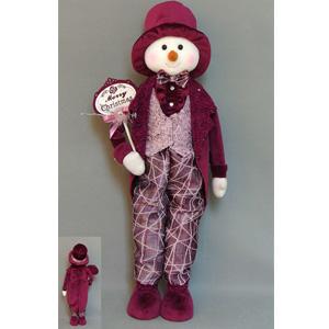 Muñeco de nieve con vestido vino de  61x33x15cm