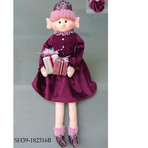 Duende con patitas colgantes y vestido vino de 23x15x8cm