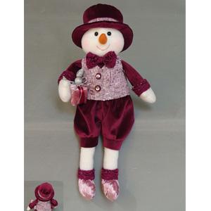 Muñeco de nieve de patitas colgantes con traje vino de 23x15x8cm