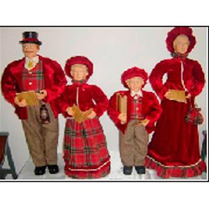 Coro de 4 personas vestidos rojo con cuadros  de 68cm