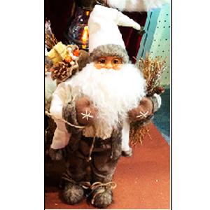 Santa parado con regalos con traje beige y cafè de 16x9x30cm