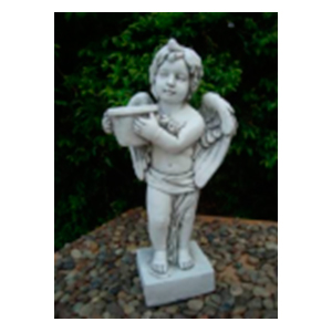 Angel parado con maceta terminado piedra de 30x23x61cm