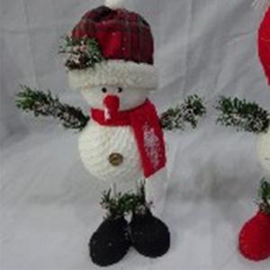 Muñeco de nieve con gorro escoces de 21x10x40cm
