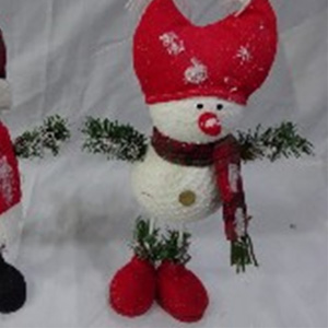 Muñeco de nieve con gorro rojo de 21x10x40cm